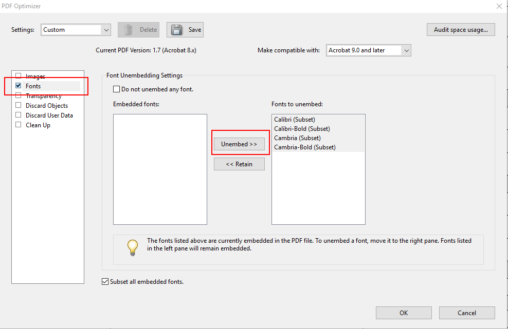 Reduce PDF size by sub-setting or removing fonts – Neuxpower