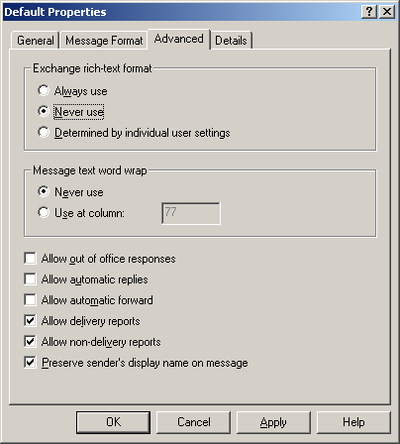 Configure Exchange Server to send RTF messages in HTML